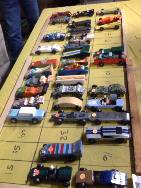 Pinewood Derby Car Lineup