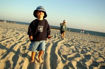 Kids Walk on the Beach