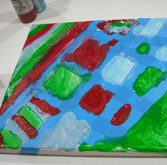 Make a Tape Resist Abstract Painting with Kids