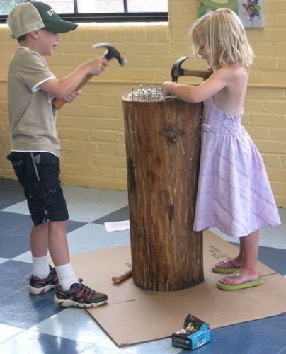 Kids working with wood