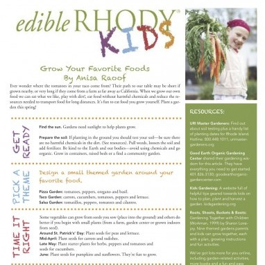 Edible Rhody KIDS: Grow your Favorite Foods