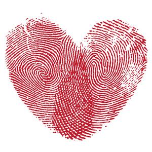Lip print heart