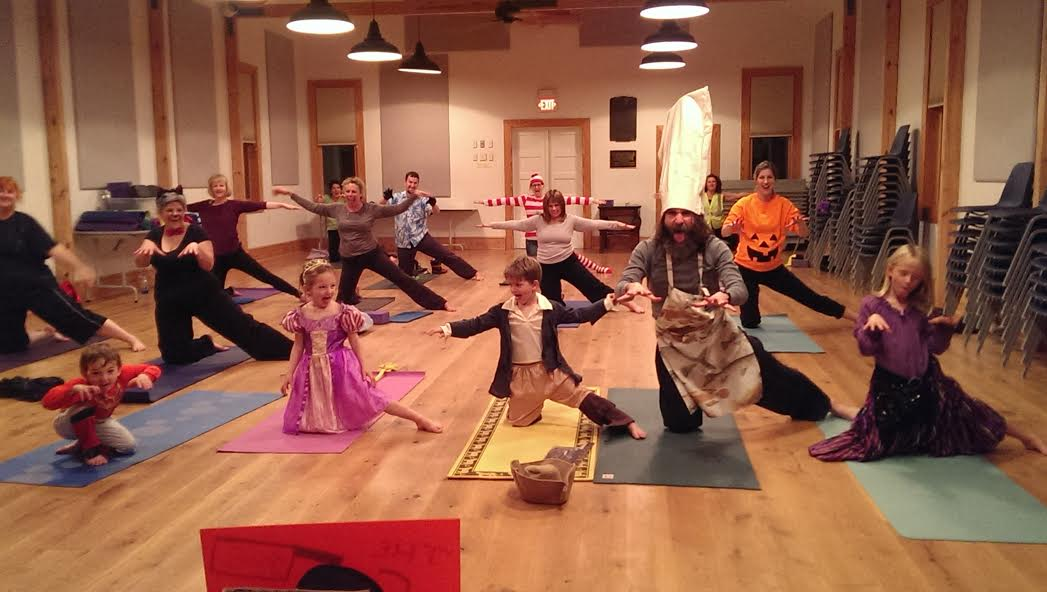 Family Halloween Yoga Class Fun at Hope Artiste Village. Costumes welcome!