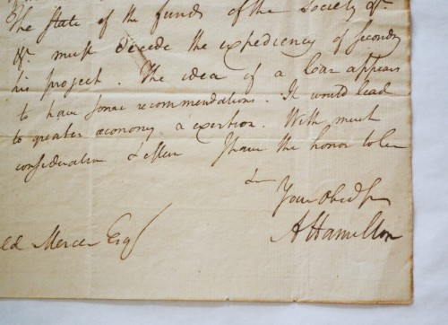 Detail of a 1792 letter signed by Alexander Hamilton from the Newport Historical Society's collection