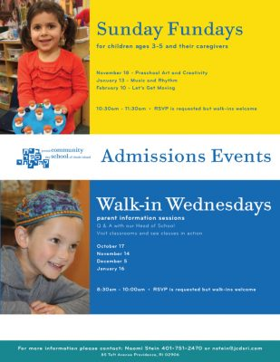 Walk-in Wednesday parent information session @ Jewish Community Day School of RI | Providence | Rhode Island | United States