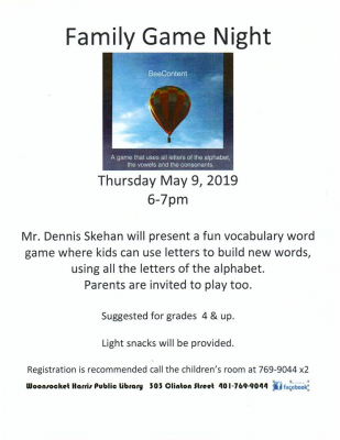 Family Game Night (grades 4 & up) @ Woonsocket Harris Public Library