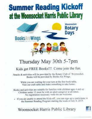 Summer Reading Kickoff: Free books, snacks, and activities (ages 4+) @ Woonsocket Harris Public Library