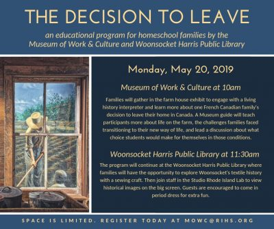 The Decision to Leave : The French Canadians Journey to America (recommended for school age children and up) @ Woonsocket Harris Public Library