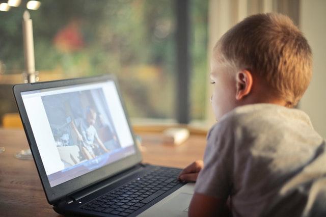 Boy watching video