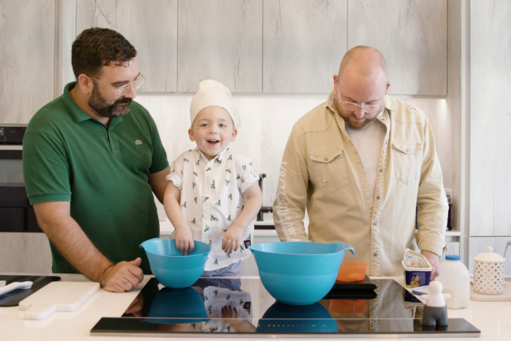 adults cooking with kids